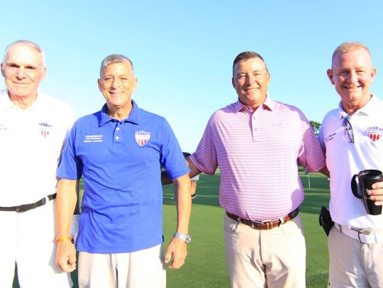"""Veterans Council of Indian River County President Darryle """"Sam"""" Kouns, left, County Commissioner Joe Flescher, Sand Ridge Golf Pro Bela Nagy, and Curtis Paulisin, Veterans Council first vice president and Veterans Outreach officer. The 2018 Veterans Outreach Golf Tournament is a four-person scramble format shotgun start 8 a.m. June 16. $65 per person includes 18 holes of golf, lunch, green fees, cart and awards. For details, go to veteranscouncilirc.org."""