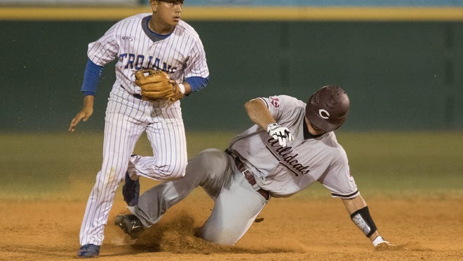 Moody's Andrew Saenz tags out Calallen's Brandon Broughton during the fifth inning of the the 30-5A district championship game at Cabaniss Baseball Field on Saturday, April 29, 2017.