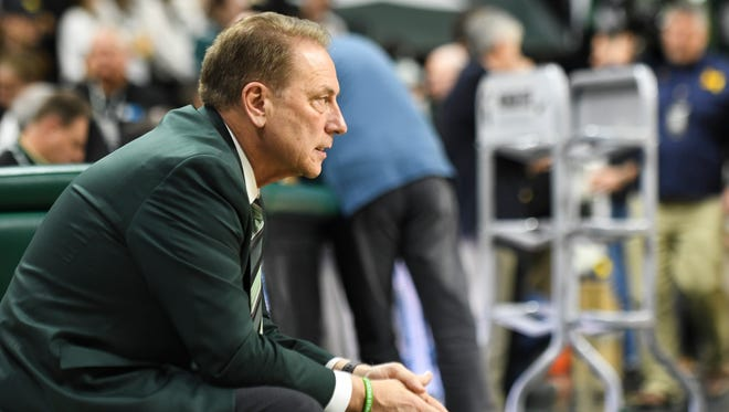 MSU Basketball Coach Tom Izzo watches UM warm up Saturday, Jan. 13, 2018, before the Spartans meet the Wolverines at the Breslin Center in East Lansing.