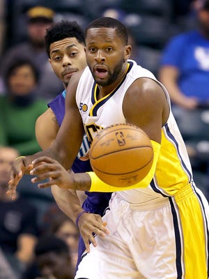 Indiana Pacers forward C.J. Miles (0) has the ball knocked away from him by Charlotte Hornets guard Jeremy Lamb (3) in the first half of their game  Wednesday, March 15, 2017, evening at Bankers Life Fieldhouse.