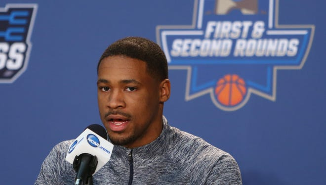 Notre Dame player Demetrius Jackson spoke at a news conference Thursday before the first round of the NCAA men's college basketball tournament at Barclays Center.