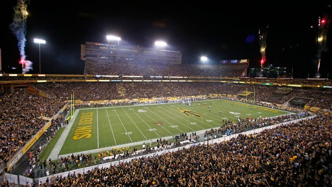 Fireworks shine after Arizona State scored a fieldgoal against UCLA in the first half on Thursday, Sep. 25, 2014 at Sun Devil Stadium in Tempe, AZ.