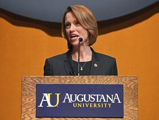 Stephanie Herseth Sandlin speaks during an event introducing