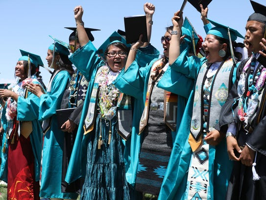 Navajo Prep Preparatory graduates celebrate in unison