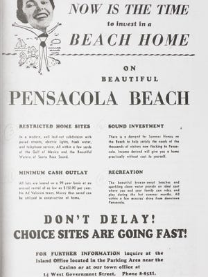 """Vintage Pensacola Beach Property Ads from the book """"Deceit Beach The True Story of Deception by Escambia County and their Agent, the Santa Rosa Island Authority, and how the Florida Supreme Court failed the protect the victims,"""" by William L. Post."""