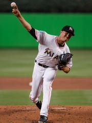 Trevor Richards of the Miami Marlins pitches during a game against the Boston Red Sox at Marlins Park on April 2.