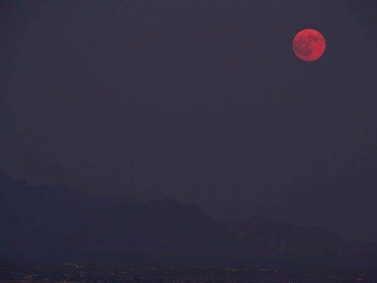 Hazy full moon in Las Cruces