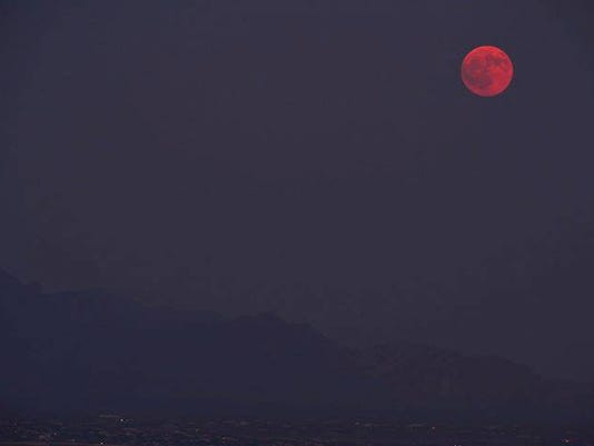 Hazy full moon in Las Cruces