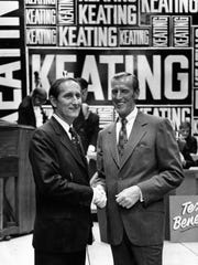 William Keating Sr., left, with his brother Charles, on Election Day in 1972, when William Keating was re-elected to Congress.