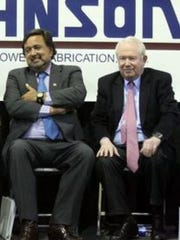 Bill Sanders, right, who formed Strategic Growth Bancorp in 2012, sits next to former New Mexico Gov. Bill Richardson at a 2010 event in Santa Teresa.