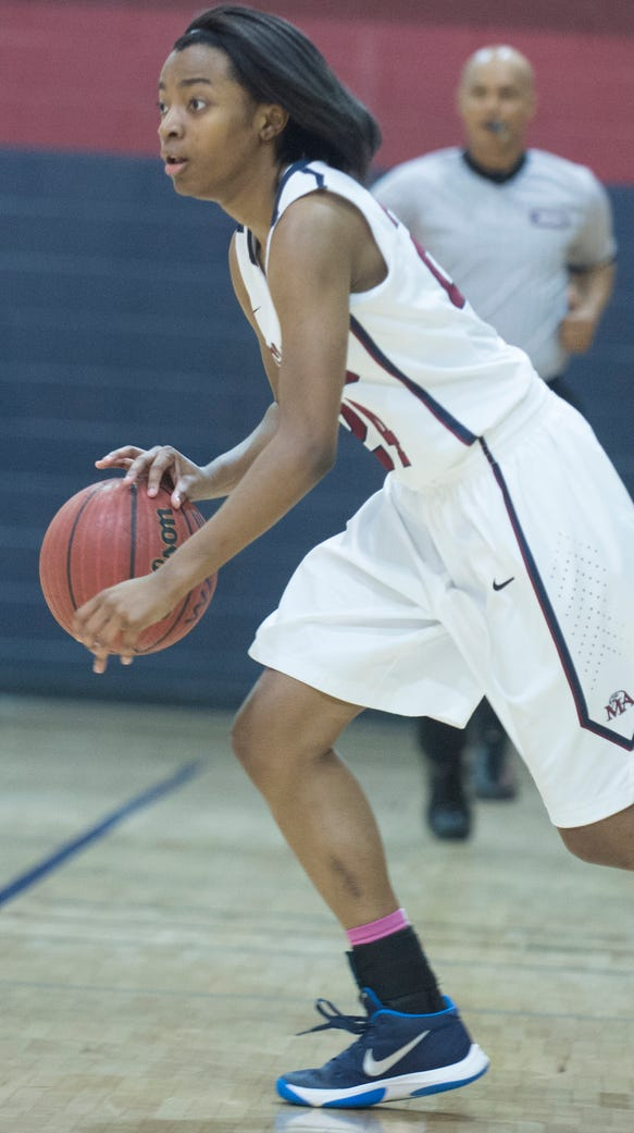 Montgomery Academy's Jade Brooks (24) dribbles up the