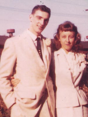 Mr. and Mrs. Tom Case on their wedding day.