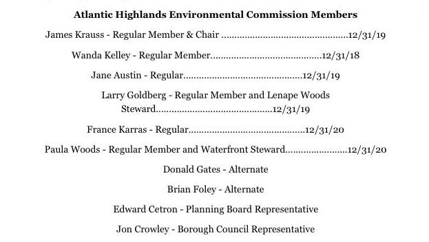 A screen shot from the Atlantic Highlands Environmental Commission page of the borough's website.