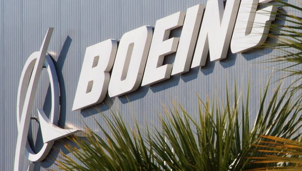 This April 27, 2012 file photo shows the Boeing logo