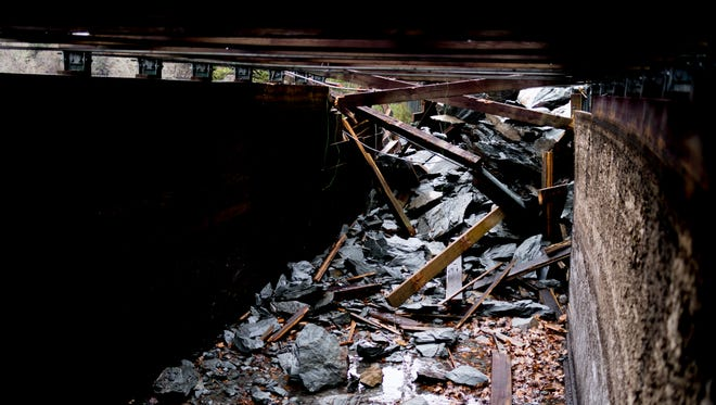A November rockslide broke through and severely damaged a section of the Ocoee Flume in Benton, Tennessee on Wednesday, February 7, 2018. The flume was built in 1912.