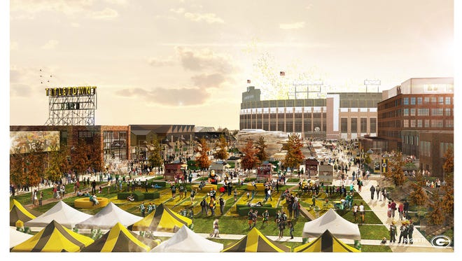 An artist's rendering shows a fall scene in the Titletown District's public plaza, with Lambeau Field in the background.