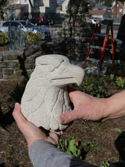 White Plains native Joe Giglio hold his newly sculpted