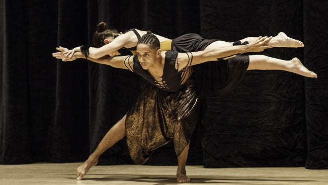 Trevor Van Orden and Cassandra López of Borinquen dance during an April 16, 2016, community performance at Hochstein School of Music and Dance.
