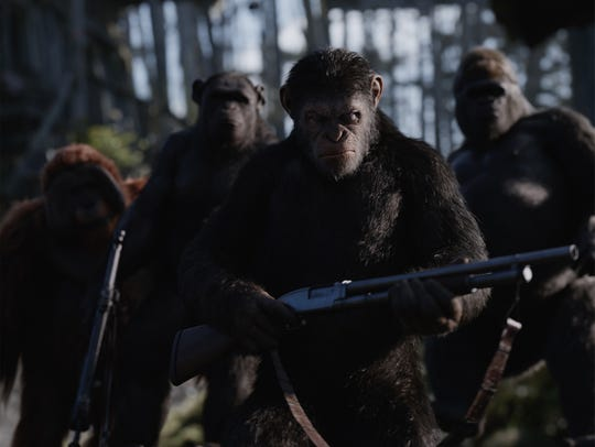 A scene from WAR FOR THE PLANET OF THE APES also starring
