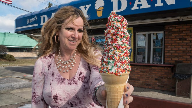 Julie Skore McBride's Dairy Dan sells  ice cream in spite of the winter weather.