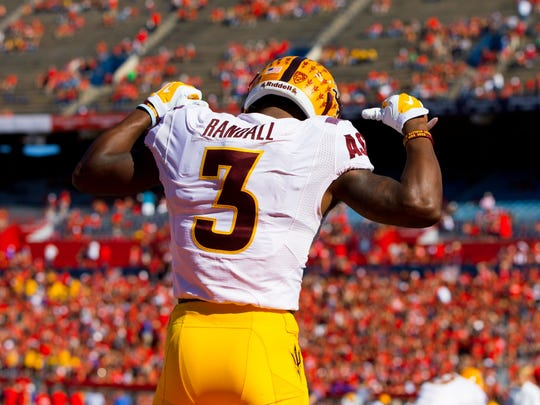 Nov 28, 2014: Arizona State Sun Devils defensive back Damarious Randall (3) reacts prior to the game against the Arizona Wildcats during the 88th annual territorial cup at Arizona Stadium.