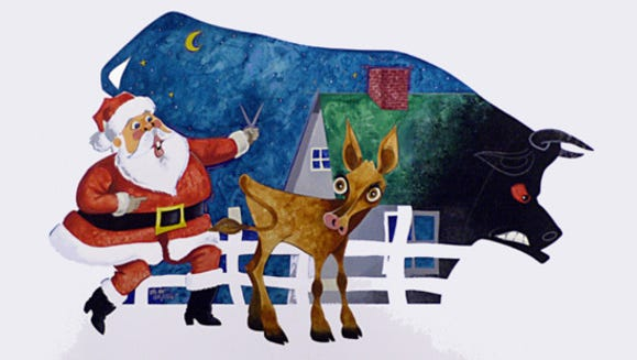"""Charles Tuthill illustration for """"Clarabell the Christmas Cow,"""" a fictional story by Dan Henderson."""