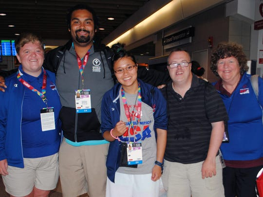 Delaware's Special Olympics World Games delegation: (from left) Robin Long, Forrie Brown, Ginger Shaud, Danny Yonker and coach Mary Moore.