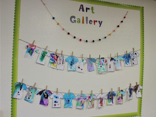Some of the student work visible on a recent day inside