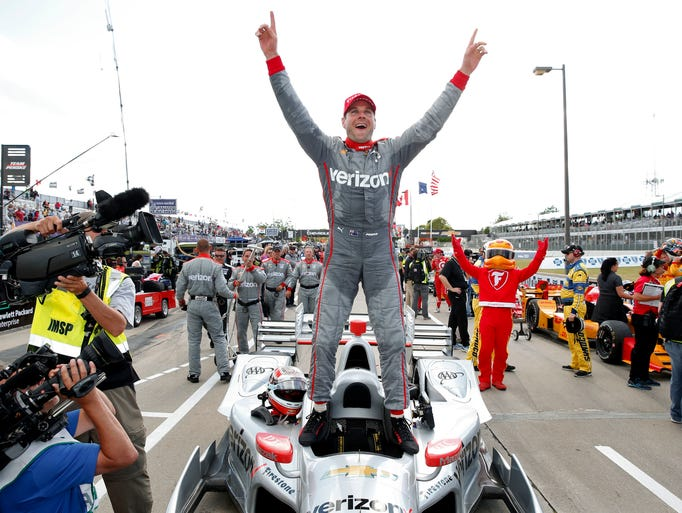 Will Power celebrates after winning race two of the