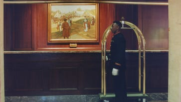 """The Howard Pyle painting """"Conestoga Powder"""" that hung behind the lobby desk was not included in the donations."""