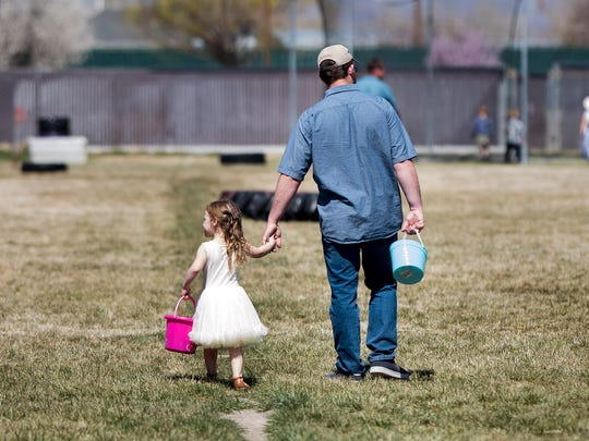 Kids searched for over 3600 eggs at the Yerington Lions Club 50th annual Easter Egg Hunt.