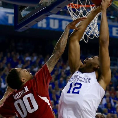 UK's Karl-Anthony Towns found himself in early foul