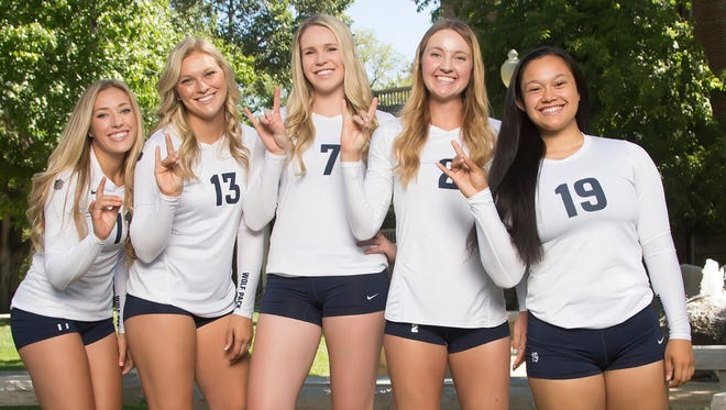 Wolf Pack seniors, from left, Madison Thorpe, Madison Morrell, Kathryn Groenweghe, Lyndsey Anderson and Nicole Burdo will play their final home game Monday.
