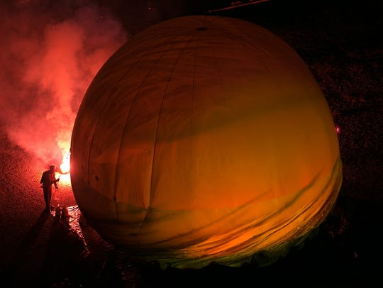 A helium-filled inflatable of Plasticiens Volants during