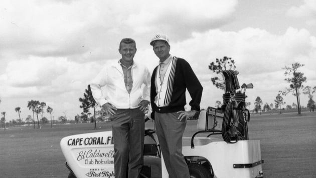 Actor Martin Milner and golf pro Ed Caldwell pose at Cape Coral golf course in the 1960s.
