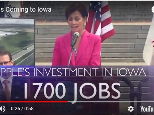 Video from the Reynolds-Gregg campaign cites 1,700 Apple jobs for Iowa.