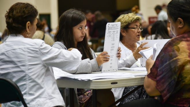 in this Nov. 8, 2016, precinct officials reconcile ballots on the night of the general election at the University of Guam Calvo Field House.