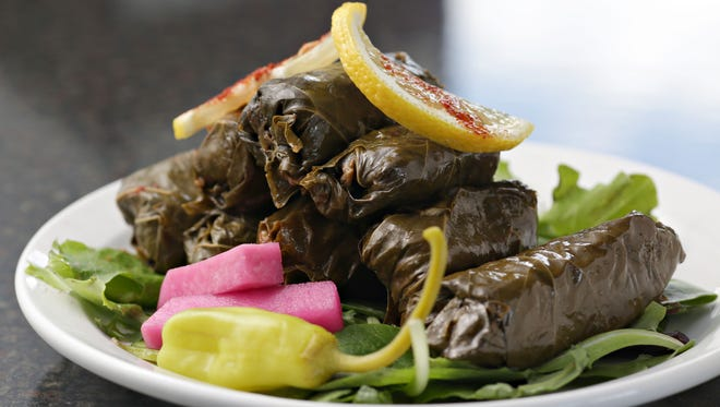 The pickled stuffed vine leaves from Zeta's Grill.