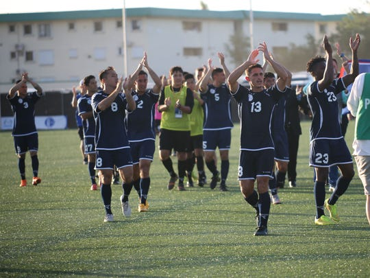 The Matao, the Guam men's national football team, acknowledge the sellout crowd in propelling the team to its 2-1 win over India on June 16 in a 2018 FIFA World Cup Russia and AFC Asian Cup UAE 2019 Joint Qualification Round 2 match at the Guam Football Association National Training Center.
