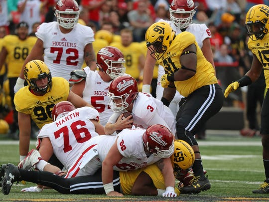 Oct 28, 2017; College Park, MD, USA; Indiana Hoosiers quarterback Peyton Ramsey (3) is sacked by the Maryland Terrapins defense at Maryland Stadium. Mandatory Credit: Mitch Stringer-USA TODAY Sports