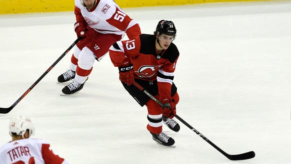 New Jersey Devils center Nico Hischier pictured on Jan. 22, 2018 against the Red Wings.