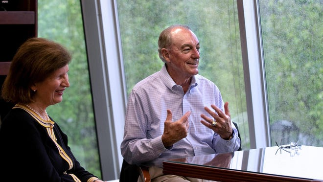 Ron Machtley is retiring from Bryant University in Smithfield. He and his wife, Kati, talked about his retirement during an interview in his Bryant office.