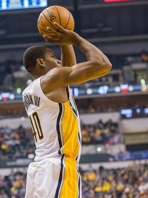 Indiana Pacers guard Glenn Robinson III (40) has seen an increase in his playing time.
