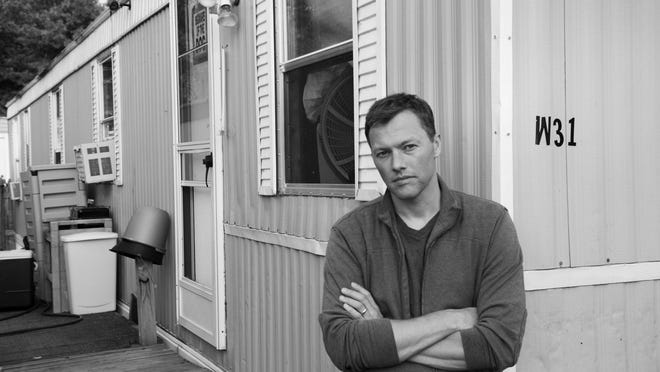 """Matthew Desmond in the Milwaukee trailer park where he lived while doing research for his book """"Evicted."""""""