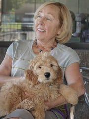 Joanne McSAhane and Phoebe, her 10-week-old Labradoodle