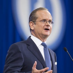 Democratic presidential candidate Lawrence Lessig campaigns in Manchester, N.H., in September 2015.