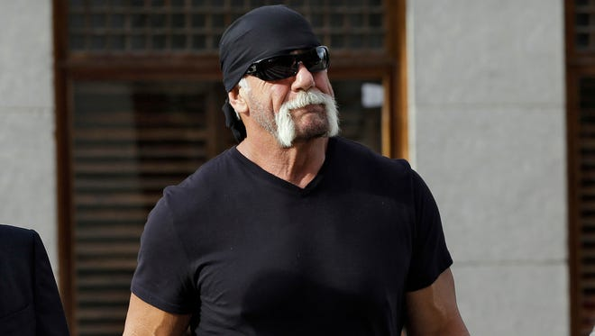Former professional wrestler Hulk Hogan, whose real name is Terry Bollea, arrives for a news conference at the United States Courthouse in Tampa, Florida on Oct. 15, 2012.