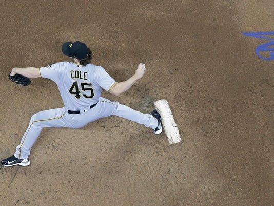 Pittsburgh Pirates starting pitcher Gerrit Cole throws during the first inning of a baseball game against the Milwaukee Brewers Monday, June 19, 2017, in Milwaukee. (AP Photo/Morry Gash)