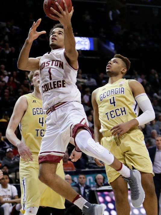 Boston College's Jerome Robinson (1) drives past Georgia Tech's Brandon Alston (4) during the second half of an NCAA college basketball game in the first round of the Atlantic Coast Conference tournament Tuesday, March 6, 2018, in New York. Boston College won 87-77. (AP Photo/Frank Franklin II)