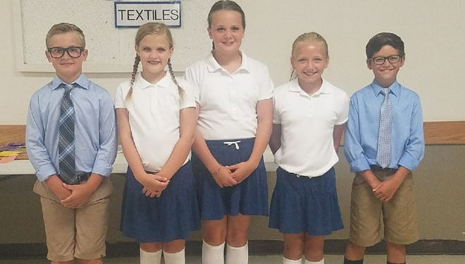 These six Montezuma Community School students (not in order), including: Camryn Brennan, Cruz DeJong, Kaya Latcham, Isabella Roorda and Lily Shoemaker, all upcoming sixth graders, have advanced from the Poweshiek County Fair and will be competing at the Bill Riley Show at the Iowa State Fair. They are competing in the sprout division